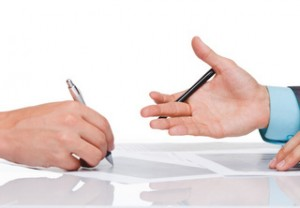 businessmen hands sign up contract